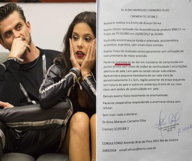 Exame de Emilly no 'BBB' vaza na web e médico ameaça processar Marcos. Foto: Reprodução